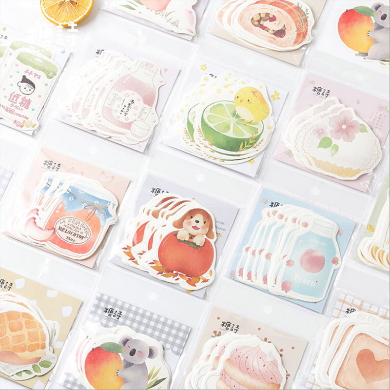 Tangshi Cute Cartoon Food Cake Memo Pad Planner Sticky Note Paper Sticker Kawaii Stationery Pepalaria 30 Pages