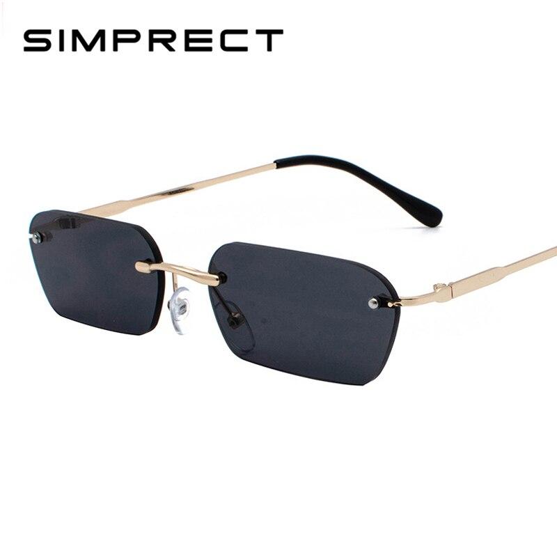 SIMPRECT 2019 Rimless Square Sunglasses Women Metal Small Sun Glasses For Men Brand Designer Fashion Lunette De Soleil YJ1028