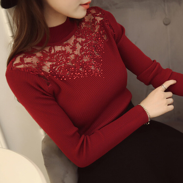 2016 new hot sale women's spring autumn turtleneck long sleeve knit sweaters women lace elasticity pullovers sweater 3 colors