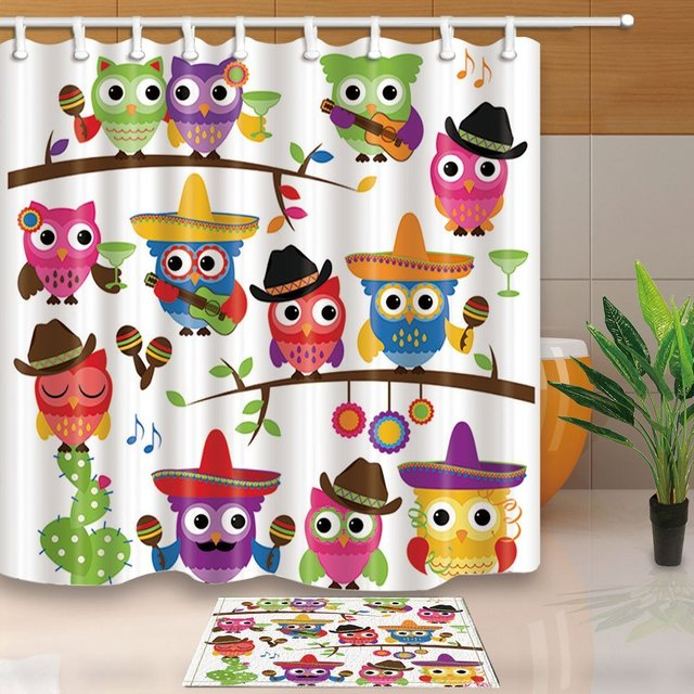 Cowboy Owls With Hats Guitars Cactus Mildew Resistant Polyester Fabric Shower Curtain Suit Non Slip Floor Doormat Bath Rugs