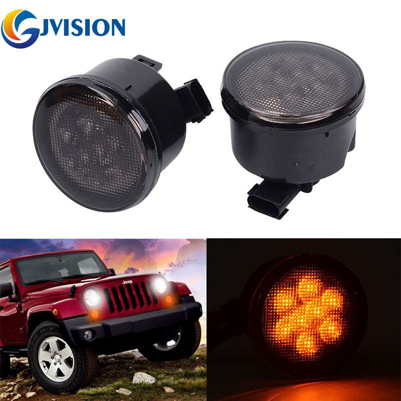 ФОТО LED Light Front Fender Flares Turn Signal Light For Jeep Wrangler JK Smoke Yellow Amber Light lamp