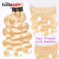 Fashion Lady Brazilian Remy Hair Platinum Blonde Hair Bundles With Frtonal 100% Human Hair 3 Bundles With Lace Frontal Closure
