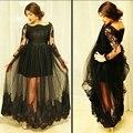 Черный Большой размер с длинным рукавом кружева элегантных вечерних платьев для беременных женщин на заказ 2015 тюль вечерние платья халат де вечер