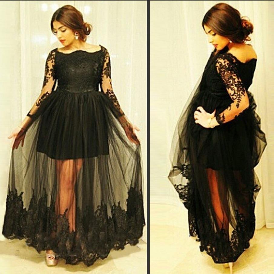 Black Plus Size Long Sleeve Lace Elegant Evening Dresses for ...