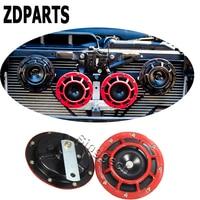 ZDPARTS 2PC For Lada Granta Vesta Kalina Seat Leon Volvo V70 S60 Xc90 Mini Cooper Car Stickers Red Electric Blast Tone Horn Kit