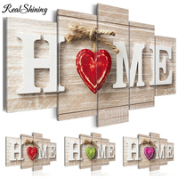 Multi picture DIY Diamond Painting Full Embroidery Home Red Heart Wooden Background 5D Square/Round Drill Kitchen Decor S4150