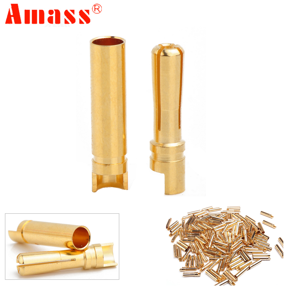 20pcs/lot AMASS 4.0mm 4mm Gold Plated Bullet Connector For RC Battery ESC And Motor Helicopter Boat Quadcopter (10 Pair)