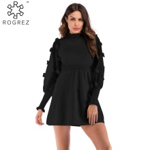 ROGREZ Elegant Party Black Beige Appliques Lantern Long Sleeve Women Winter Dress Casual Streetwear Dresses Vestido