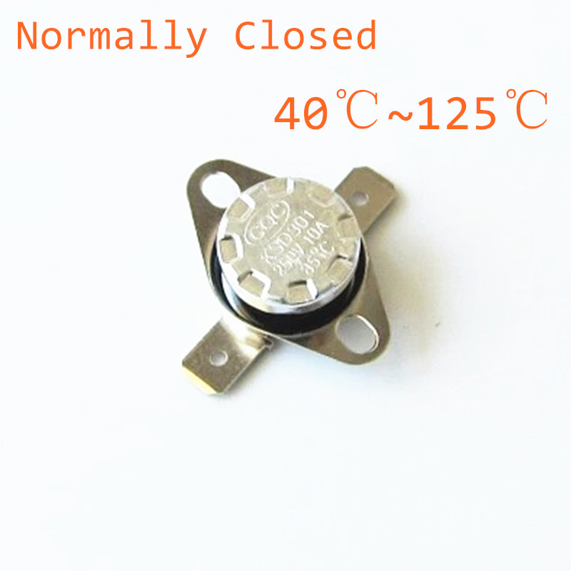 20pcs KSD301 250V 10A Normally Closed NC Thermostat Temperature Thermal Control Switch 40 45 50 55 60 65 70 75 80 85 90 100 125 10pcs lot ksd301 thermostat normally normal close 90 degrees celsius thermostat switches nc temperature switch