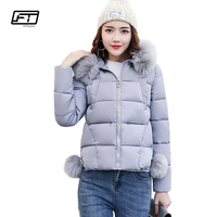 Fitaylor Winter Hooded Jacket Women Fashion Fur Collar Parka Mujer Thick Cotton Slim Warm Padded Coat Plus Size Short Outwear