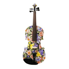2018 New High Quality Flowers Painted Art Violin 4/4 High-grade Ebony Fittings Maple Acoustic Violino Strings Music Instruments