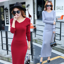 2018 NEW HOT LADY'S DRESS LONG V-NECK CASUAL KINTTED PULLOVER SWEATER ONE-PIECE DRESS crew neck casual sweater dress