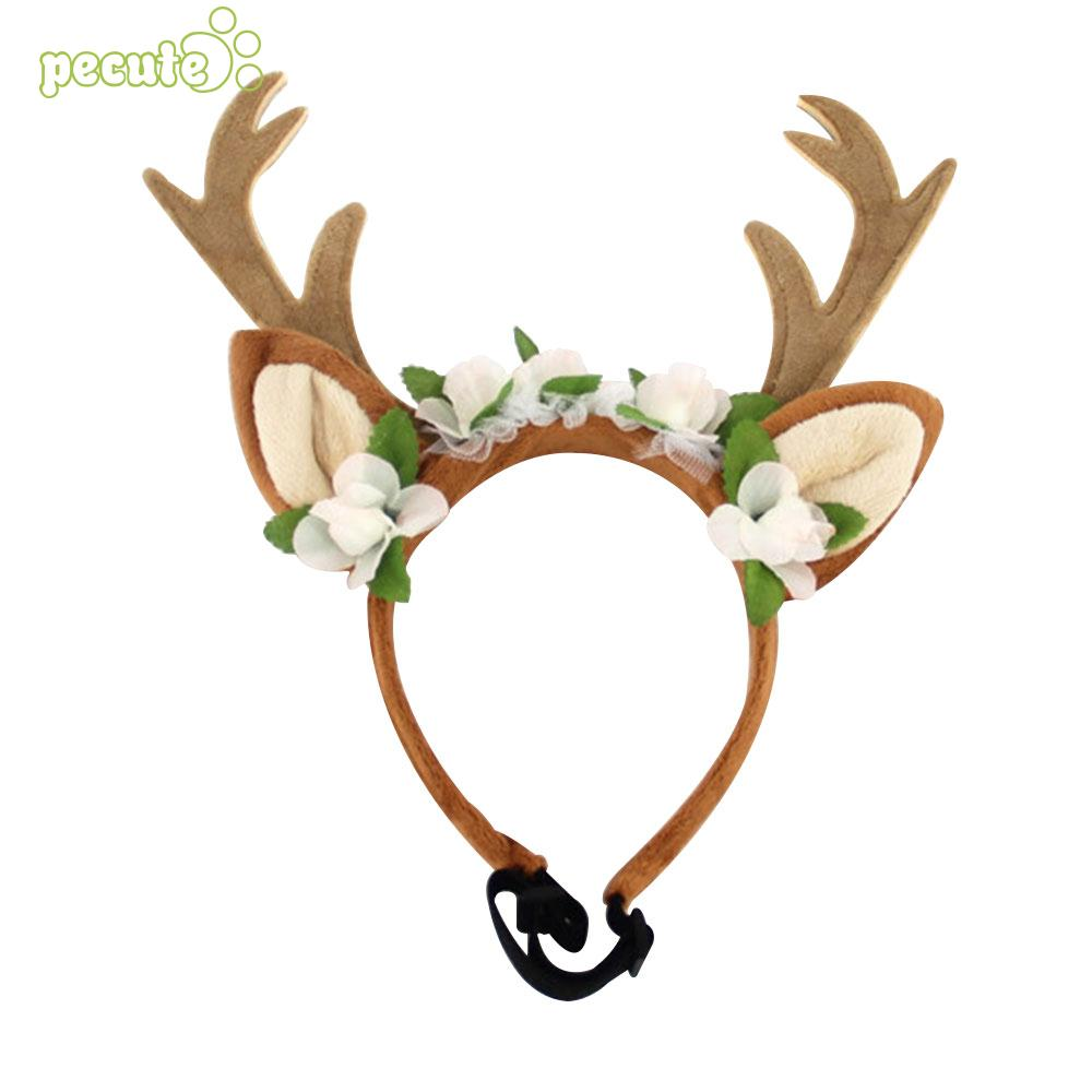 Dog Deer Headwear Dog Cat Headdress Antlers Craft Elk Silk Flower Dress Cap Pet Grooming Cute Chrisrmas Ornament
