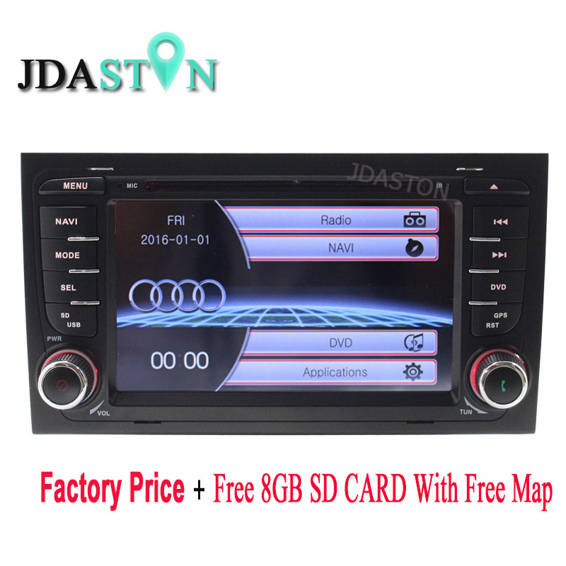 JDASTON 2 Din Car DVD Multimedia Player for AUDI A4 2002-2008 GPS Navigation Radio Audio Bluetooth Map Canbus Steering wheel RDS 1 piece for a4 1 8t 2002 2006 power steering pump 8e0145153h for audi