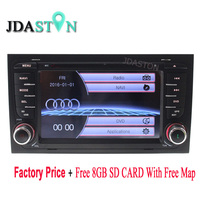 JDASTON Wholesale!!! 2 Din Wince Car DVD Player for AUDI A4 2002 2008 GPS Navigation Radio Audio Bluetooth Free Map CANBUS SWC