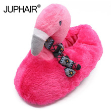 Flamingo Home Slippers Women Shoes Sweet Plush Slippers Cute Cotton Floor Indoor Slippers Animal Slippers Winter Ladies Shoes стоимость