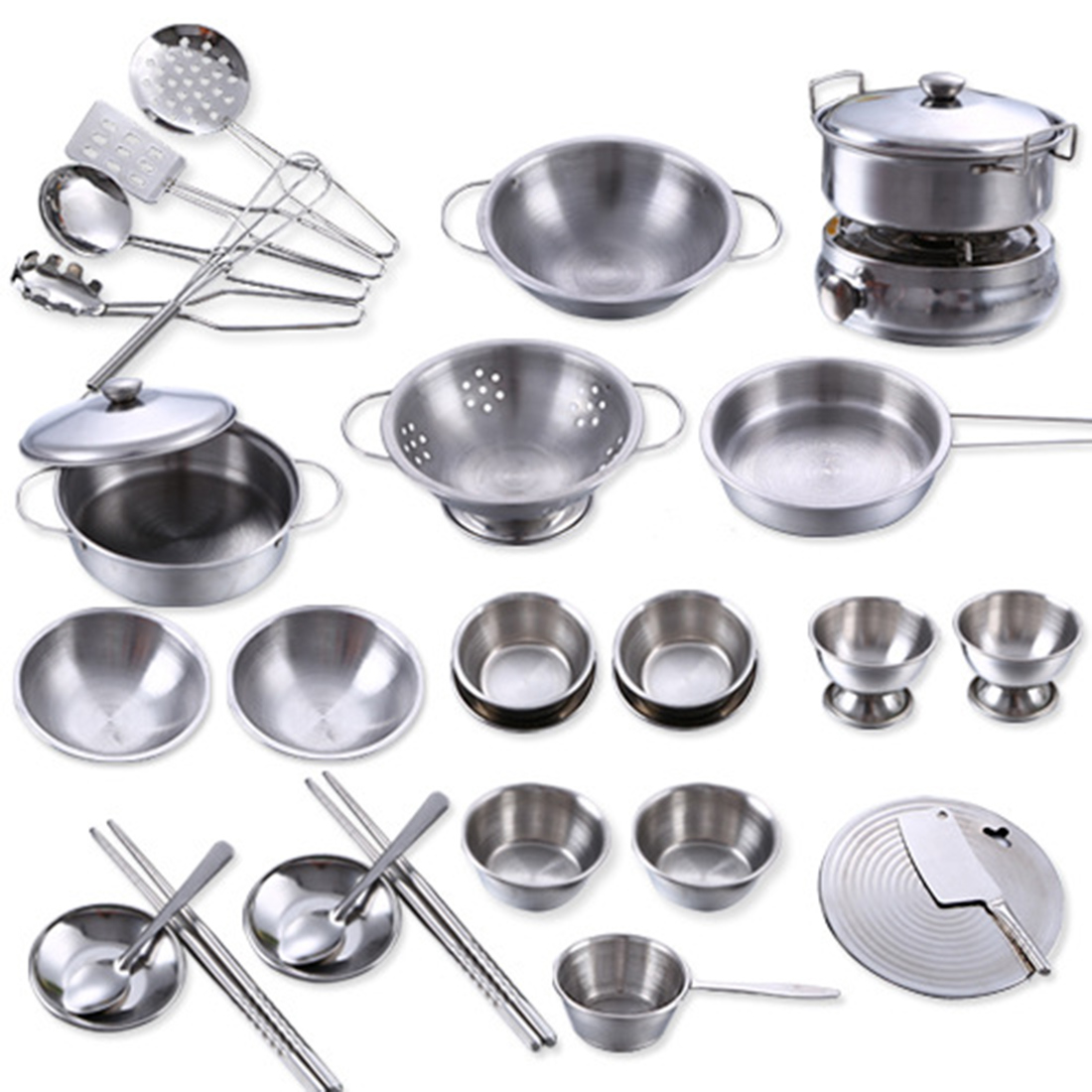 Surwish 32Pcs Stainless Steel Kids House Kitchen Toy Cooking Cookware Children Pretend & Play Kitchen Playset - Silver