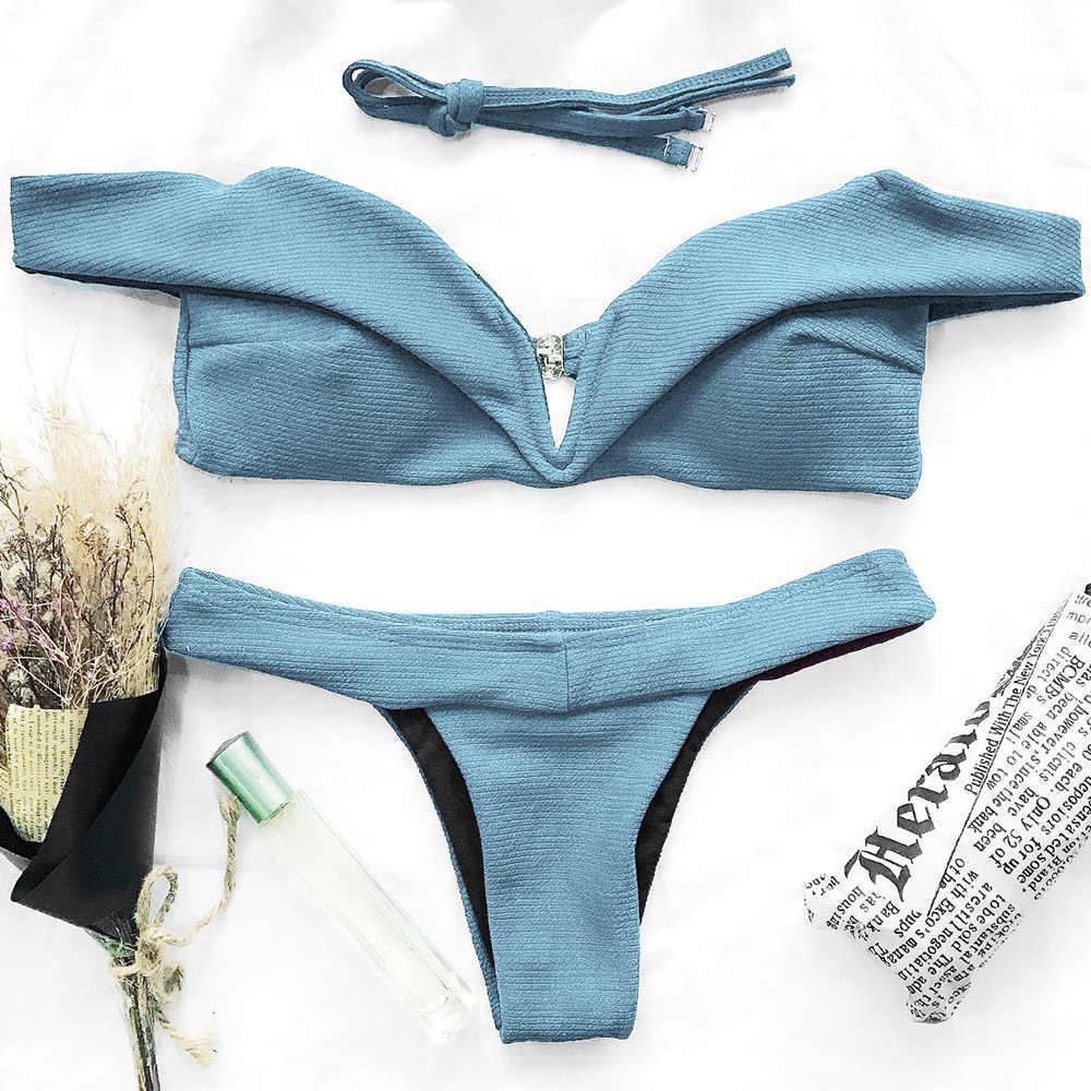 64090e1e12 ZAFUL V Plunge Off The Shoulder Women Bathing Suit Swimwear Swimsuit Bikini  Set Brazilian Biquini Sexy