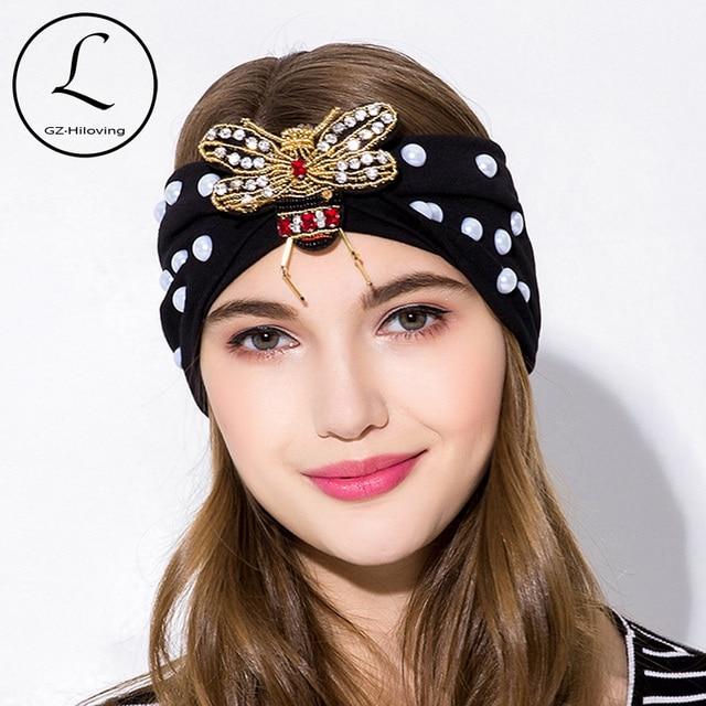 GZHILOVINGL 2018 New Fashion Girls Brand Bee Headband Turban Women Pearl  Hair Accessories Stretch Elastic Wide Cotton Headbands dbe9f6497e