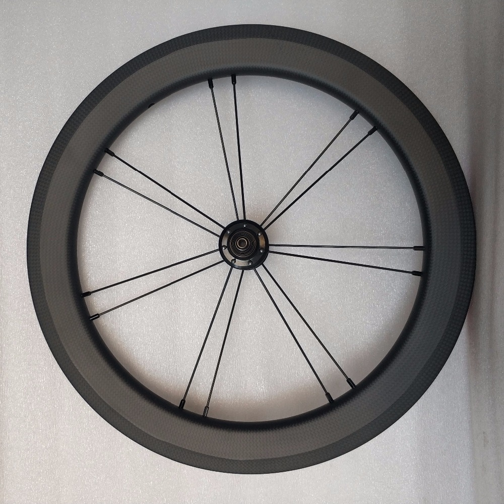 Carbon wheels for brompton front carbon wheel with hubsmith hub and rear carbon rim spokes & nipples for Brompton best quality
