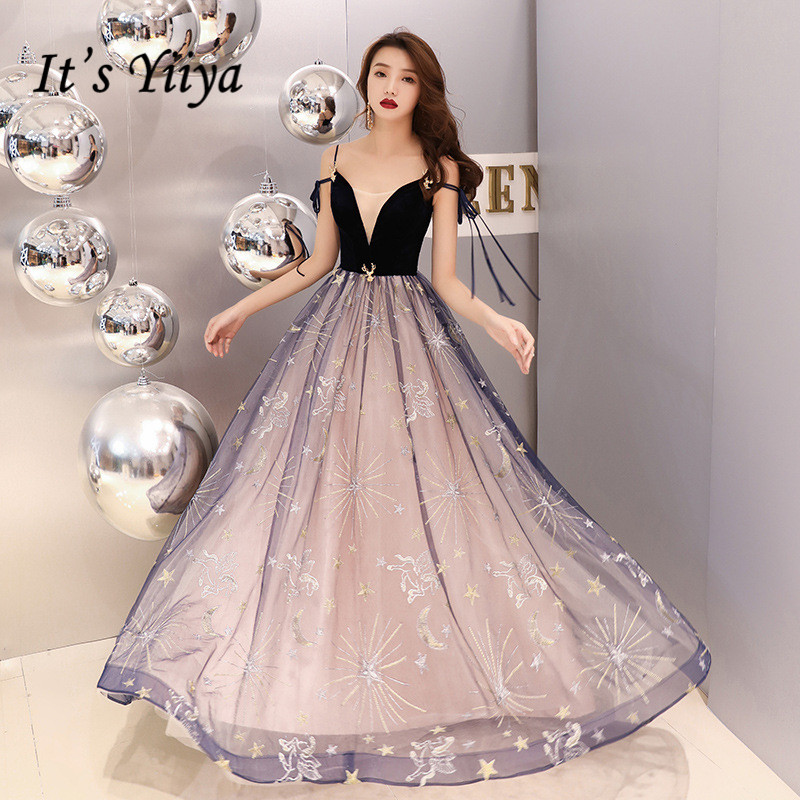 It's YiiYa Evening Dress Stars Pattern Emborider Fashion Formal Dresses Boat Neck Spaghetti Strap Sexy Party Gown E057