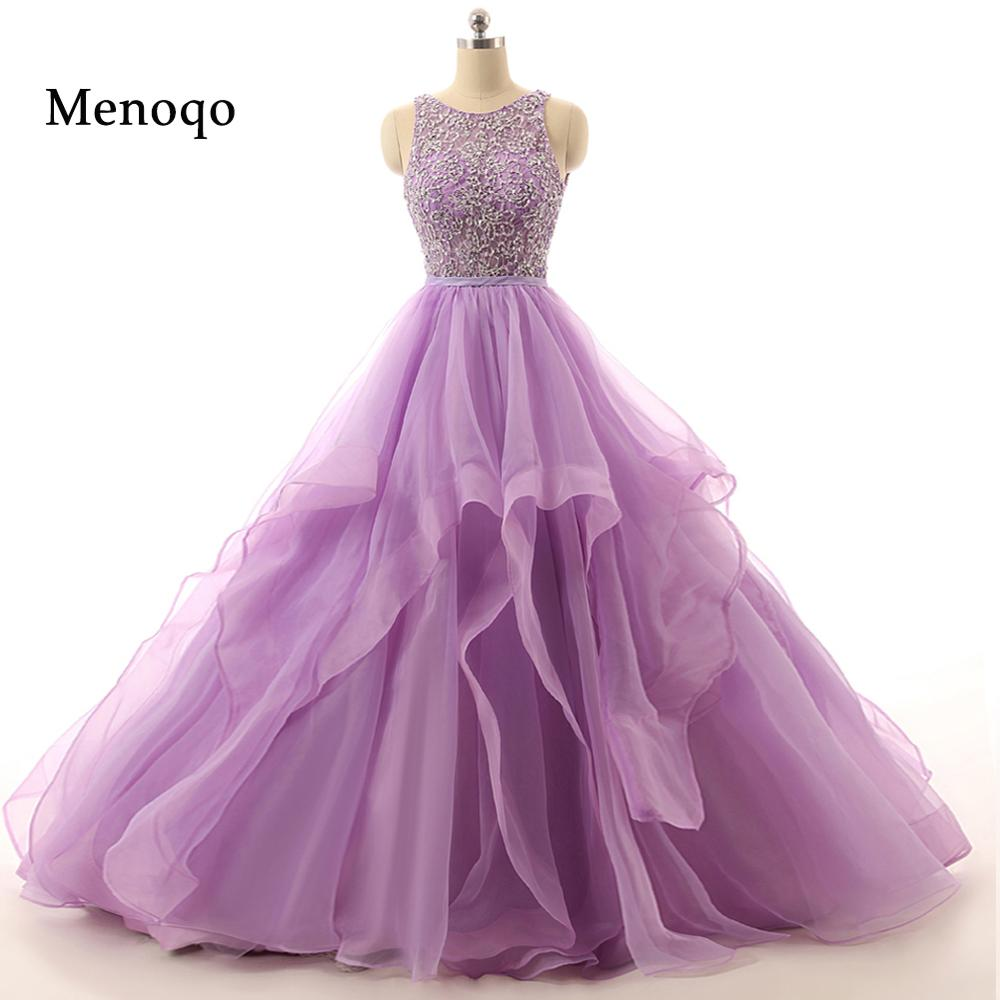 71111W Real Sample Lilac Ball gown Beaded Puffy Organza Special occasion long sexy prom dresses 2019