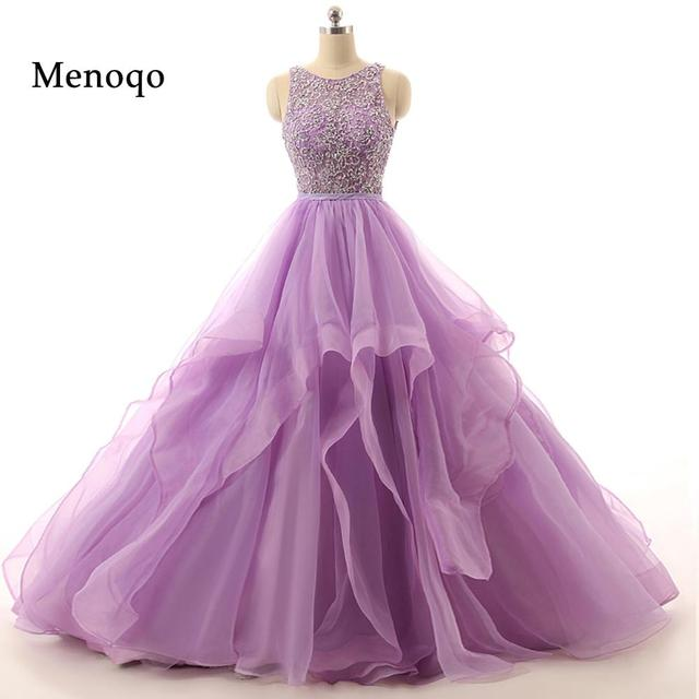 71111W Real Sample Lilac Ball gown Beaded Puffy Organza Special occasion long sexy prom dresses 2019 new arrival