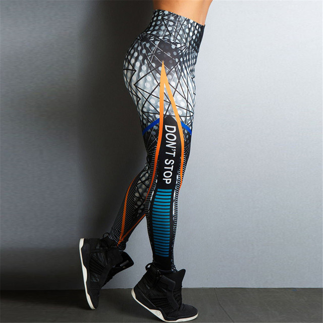 printing Wave point line Letter Ventilation Quick drying motion pants workout leggings women shein joggers women fitness legging