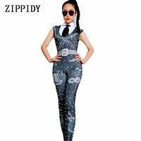 New Black Rhinestones Pearls Jumpsuit Women Dance Bar Bodysuit Spandex Leggings Nightclub Female Singer Show Costume Outfit