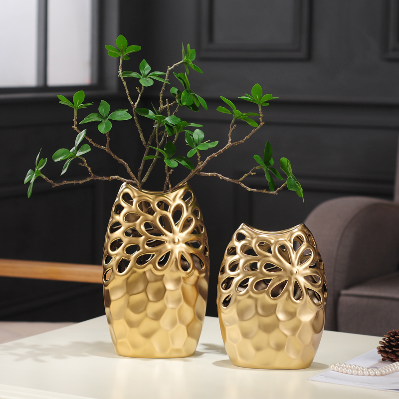 Nordic home decor flower vases wine cabinet ornaments gold silver hollow ceramic vase living room ornaments