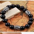 Handmade Onyx Beaded Bracelet 925 Siilver Tibetan OM Words Beads Bracelet Tibetan Beads Bracelet