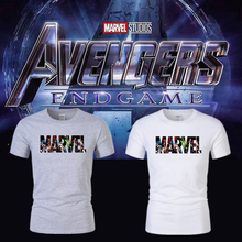 лучшая цена New fashion Marvel short-sleeved T-shirt male super hero print T-shirt comics Man Wei shirt shirt men's and women's T-shirt