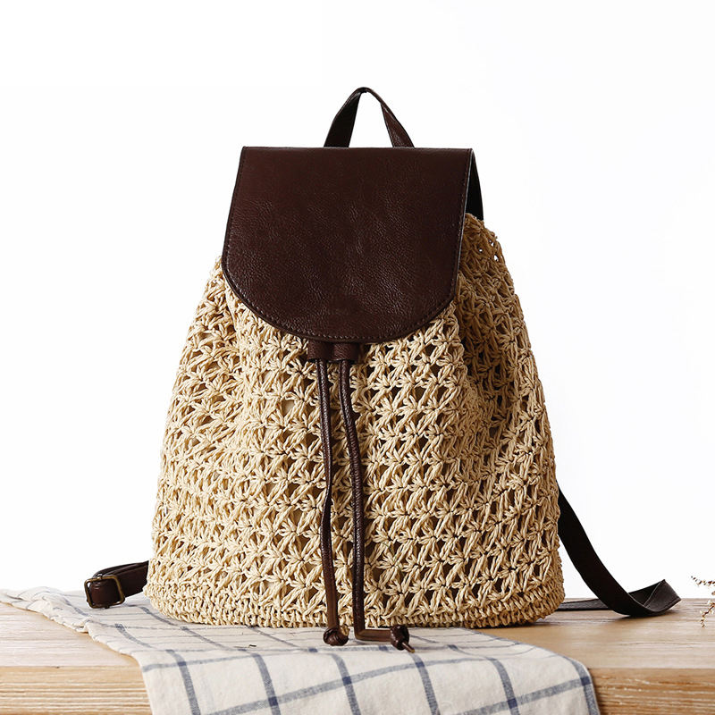 Summer Beach Bags Straw Women Bag Travel Backpack Vacation Bohemian Weave Small Ladies Casual Backpacks Bag For Girls W312