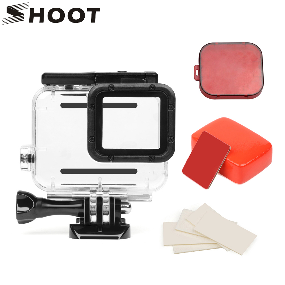 SHOOT 45m Waterproof Case for Gopro Hero 5 6 7 Black Edition Camera with base Mount Protective Go Pro HERO 7 6 5 Case Accessory shoot aluminum alloy protective case with uv filter mount for gopro hero 6 action camera housing shell go pro hero 6 accessories