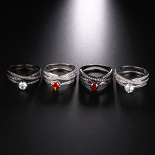 Silver Gun Black Color 2pcs/set Luxury Bijoux Fashion Wedding Ring Finger Jewelry Accessories For Women As Valentine's Day Gifts(China)