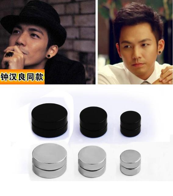 1pair Non Piercing Clip On Round Magnetic Ear Stud Mens Women Fake Earrings