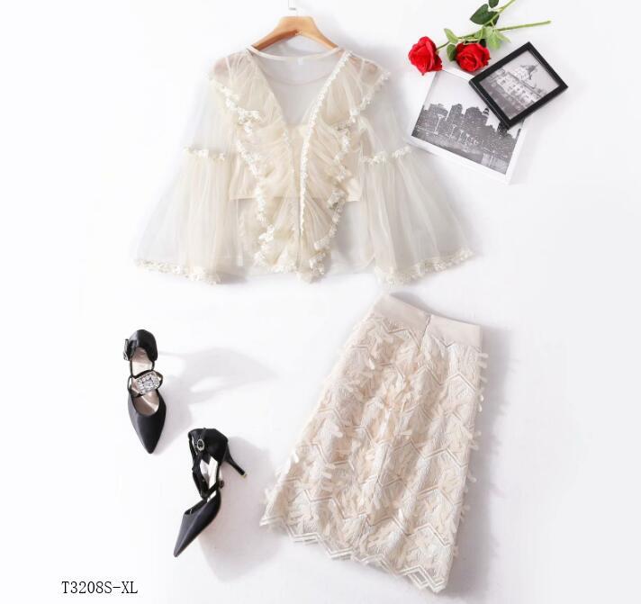 Printemps Vêtements Color Perles 2019 Mode T3208 Casual Tempérament D'été Photo Nouveautés Maille Style Costume Européen Femmes gIZx00
