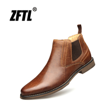 ZFTL New Men Chelsea Boots Handmade shoes Cow Leather Big size Men Ankle Boots Slip-on man Casual boots male Martin boots 006