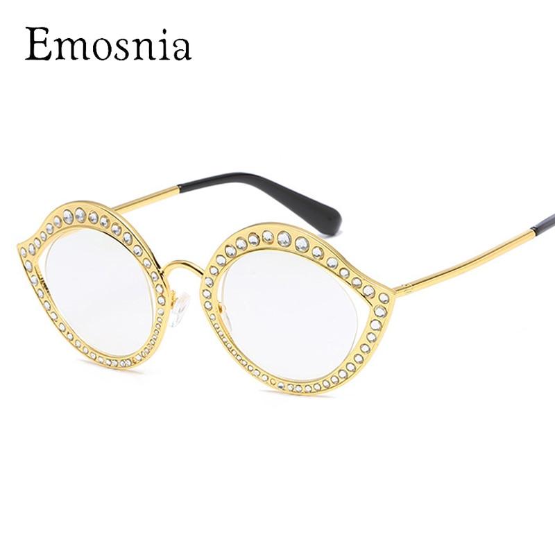 f10205e7b0b43 Emosnia Strass Luxo de Óculos De Sol 2017 Da Marca de Moda Designer De  Cateye óculos