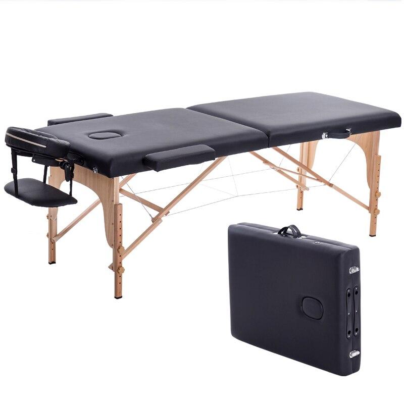 Lit de beauté pliant 180cm longueur 60cm largeur professionnel Portable Spa Tables de Massage pliable avec sac Salon meubles en bois