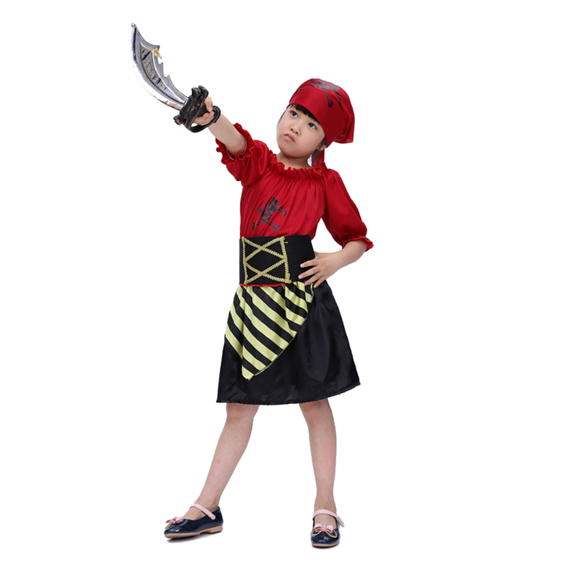 Halloween Pirate Cosplay Suit Girl Red Skull Pirate Costume Set With Pirate Knife For 4-6 Years Old - M L XL