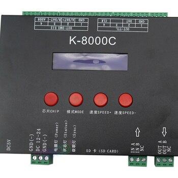 프로그래밍 가능한 dmx/spi sd 카드 led 픽셀 컨트롤러, K-8000C, 오프라인, rgb 풀 컬러 led 픽셀 라이트 스트립 DC5-24V