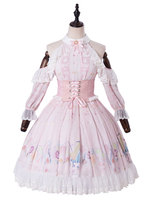 Sweet Lolita One Piece Dresses Pink Lace Lolita Dress With Cold Shoulder and Ruffles