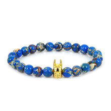 Lucky Gem 2017 New Design High Grade Men Women Fashion Jewelry 8mm Blue Sediment Stone Bead with Gold Batman Charm Bracelets