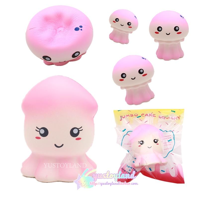 Jumbo Pink Seafood Jellyfish/Cuttlefish Squishy Super Slow Rising Kawaii Cute Phone Strap ...