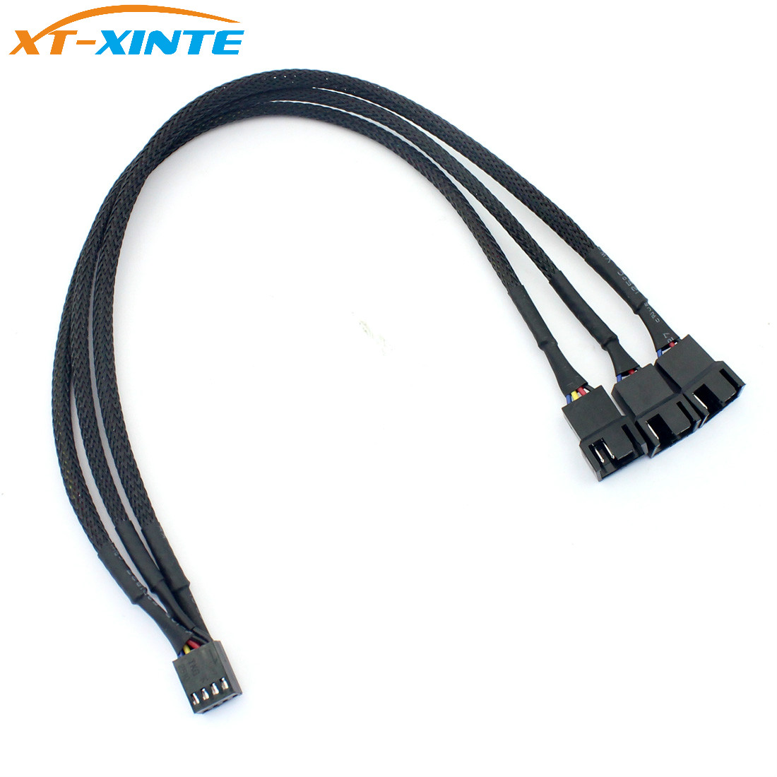 4Pin PWM 1 To 3 Ways Cooling Fan Power Supply Extension Cable Y Splitter Cord Multiplier Computer PC Chassis Cooed 22AWG 30cm