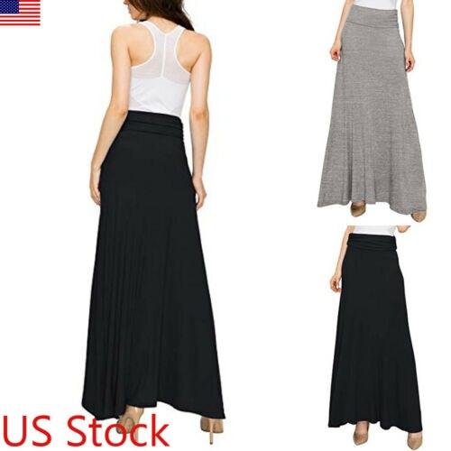 Stylish Hot Sale Women Elastic High-waist Plain Pleated Pencil Slim Long Skirts Lady Summer Casual Comfortable Wild Skirts S-XL