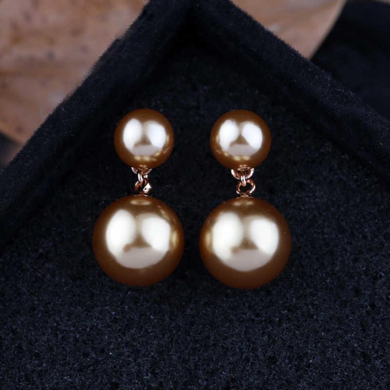 MIGGA élégant Double perles Imitation perle boucles d'oreilles couleur or Rose boucles d'oreilles pour femmes filles