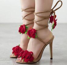 Größe 4 ~ 9 Rote Blume Frauen Schuhe Lace Up Sommer High Heels Schuhe Hochzeit Frauen Pumpt zapatos mujer (überprüfen Fuß Länge)