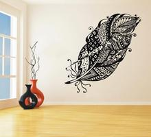 Wall Decal Vinyl Feathers Sticker Bedroom Living Room House Home Feather Decoration Removable Bohemian Forest  Decor DIY WW-217